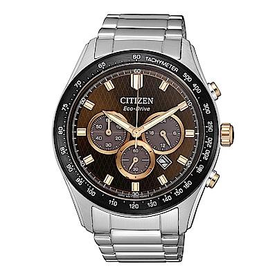 CITIZEN 準確時刻三眼計時光動能腕錶/CA4456-83X