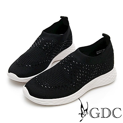 GDC-飛織流行舒適透氣閃鑽休閒鞋-黑色