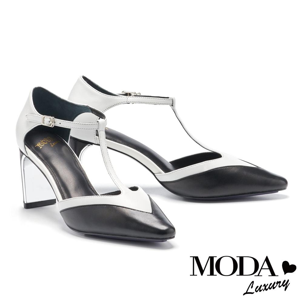 高跟鞋 MODA Luxury 摩登雙色T字帶羊皮小方頭高跟鞋-黑