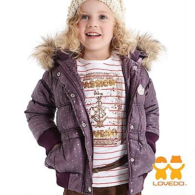 【LOVEDO-艾唯多童裝】蜜糖點點 保暖毛毛連帽鋪棉外套(紫)