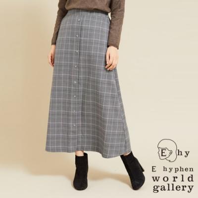 E hyphen 前排釦格紋喇叭長裙