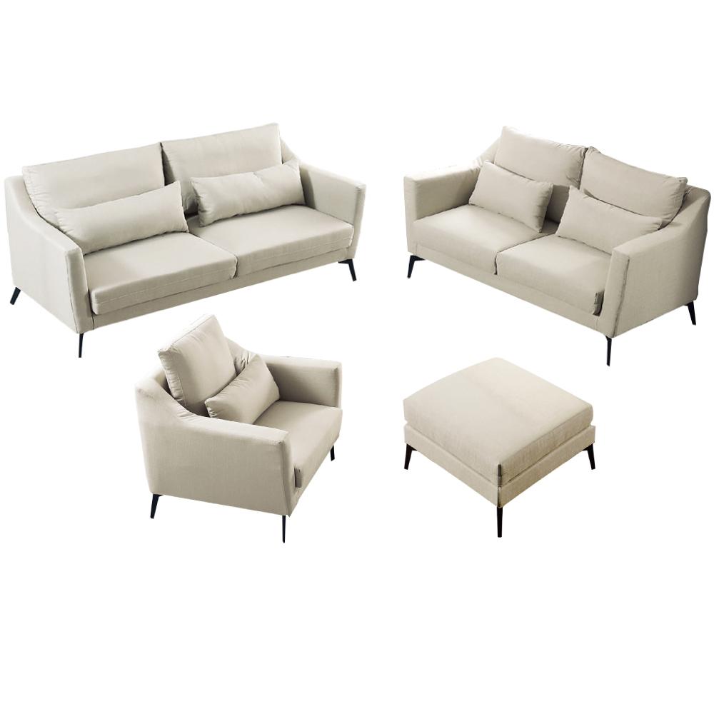 品家居 瑟尼北歐風緹花布沙發椅組合(1+2+3人座+單張腳椅)