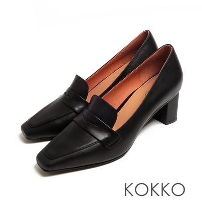 KOKKO超平頭樂福素面霧面牛皮粗跟鞋黑色