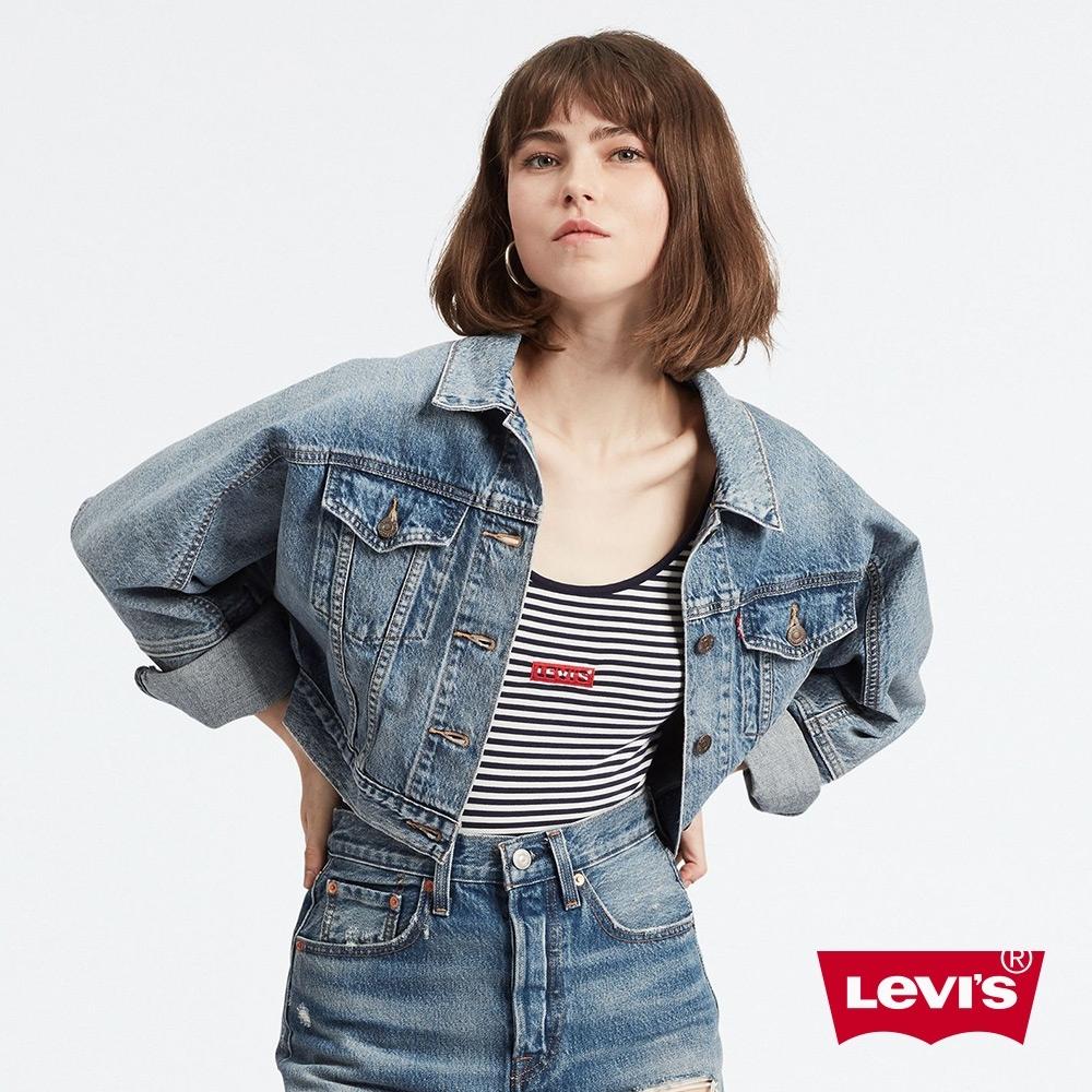 Levis 女款 古著牛仔外套 復古短版飛鼠袖 無肩線設計