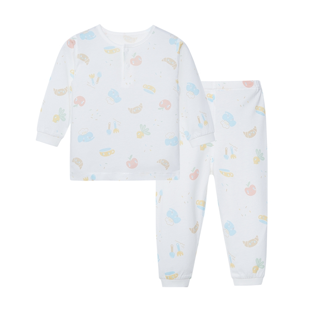 【麗嬰房】Cloudy雲柔系列 小象廚房兩粒扣套裝(長袖+長褲組) (76cm~130cm)