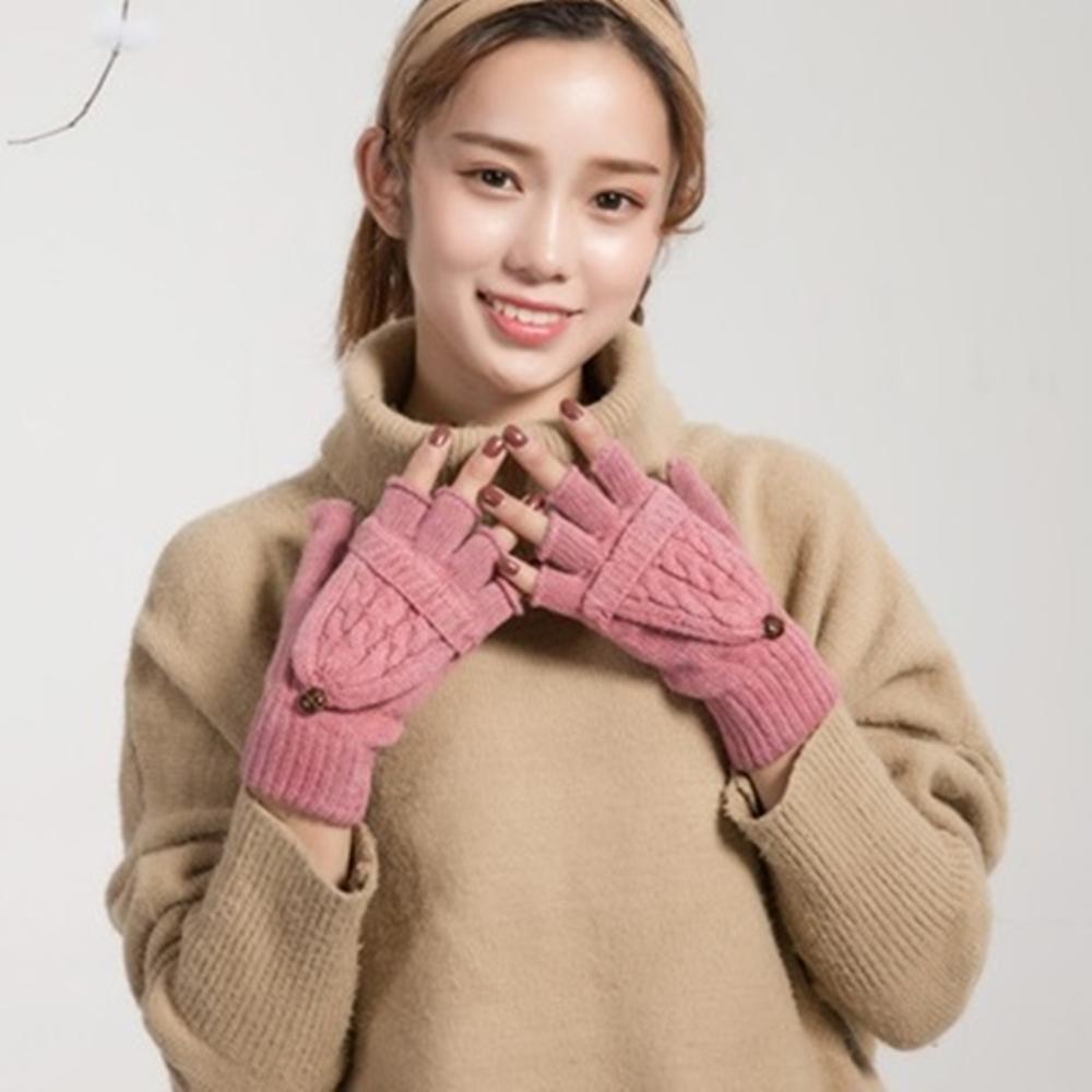 米蘭精品 羊毛手套針織手套-雙編麻花兩用半指女手套5色73or1