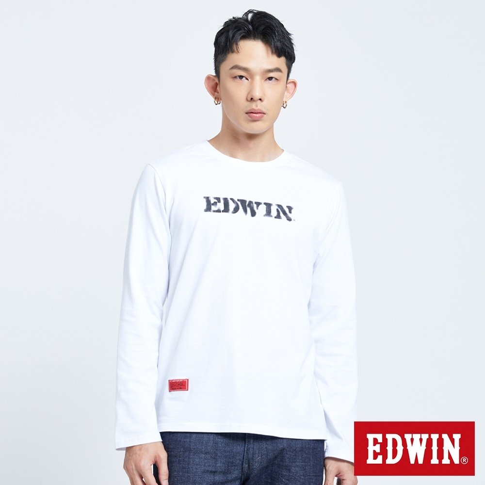 EDWIN EDGE 噴漆LOGO 長袖T恤-男-白色
