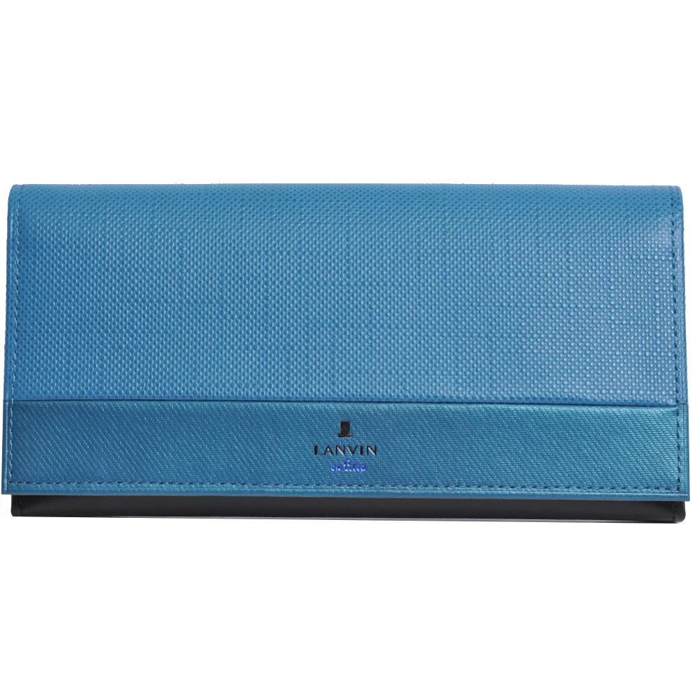 LANVIN en Bleu 品牌經典LOGO圖騰防刮牛皮對折長夾(藍色系)