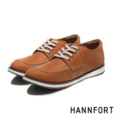 HANNFORT CANYON牛皮車縫休閒氣墊鞋-男-霧黃