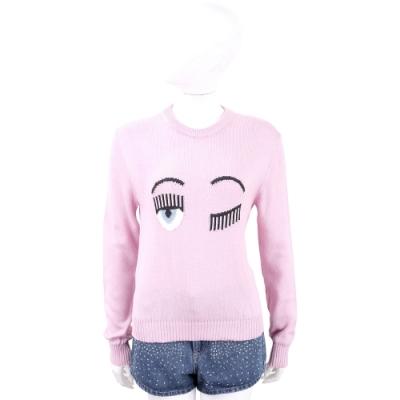 Chiara Ferragni Flirting 眨眼圖騰粉色棉質針織衫