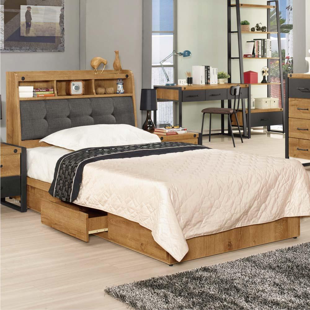 文創集 艾亞倫3.5尺單人床台(床頭+三抽底+不含床墊)-106.5x214x99cm免組 @ Y!購物
