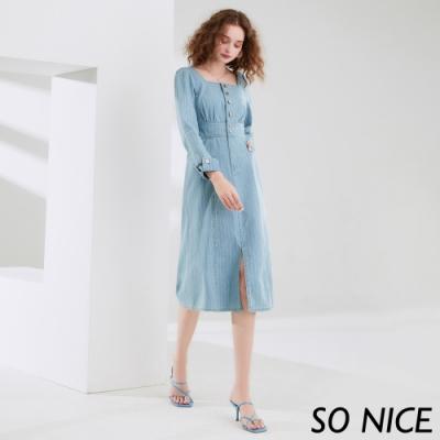 SO NICE優雅方領直條紋牛仔洋裝