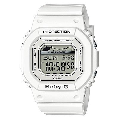 BABY-G復刻經典衝浪板海灘活動設計潮汐月相休閒錶(BLX-560-7)白色40mm