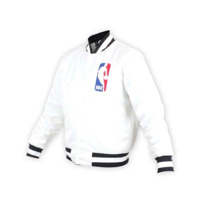 NIKE 男NBA防風棒球外套-風衣外套 籃球 保暖外套 鋪棉 白黑