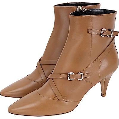 TOD'S Multi Buckle 小牛皮釦帶尖頭踝靴(棕色)