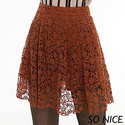 SO NICE優雅鏤空水溶蕾絲短裙