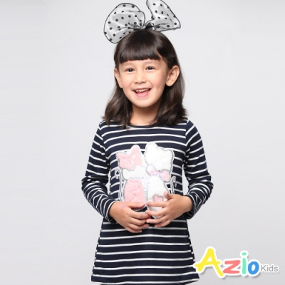 Azio Kids 女童 上衣 蝴蝶結貓咪亮片條紋長版上衣 (藍)