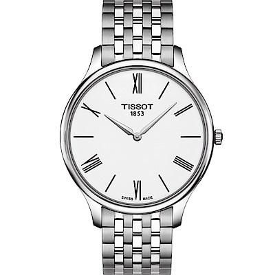 TISSOT天梭 T-Tradition 超薄設計石英錶T0634091101800-白