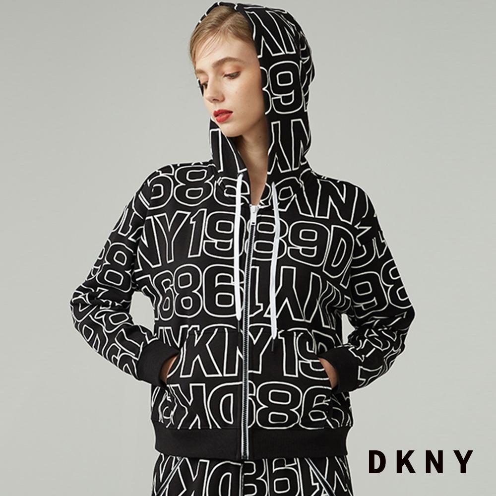 DKNY 女款 時尚街頭字母印花滿版連帽外套 黑