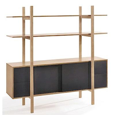 品家居 卡琳5.7尺木紋雙色展示櫃/收納櫃-170x45x170cm免組