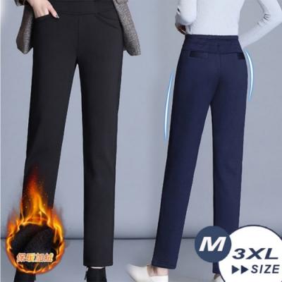 【LANNI 藍尼】厚款加絨收腹直筒褲-2色(M-3XL)●