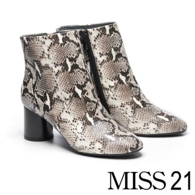 短靴 MISS 21 摩登時髦蛇紋微尖頭粗高跟短靴-蛇紋