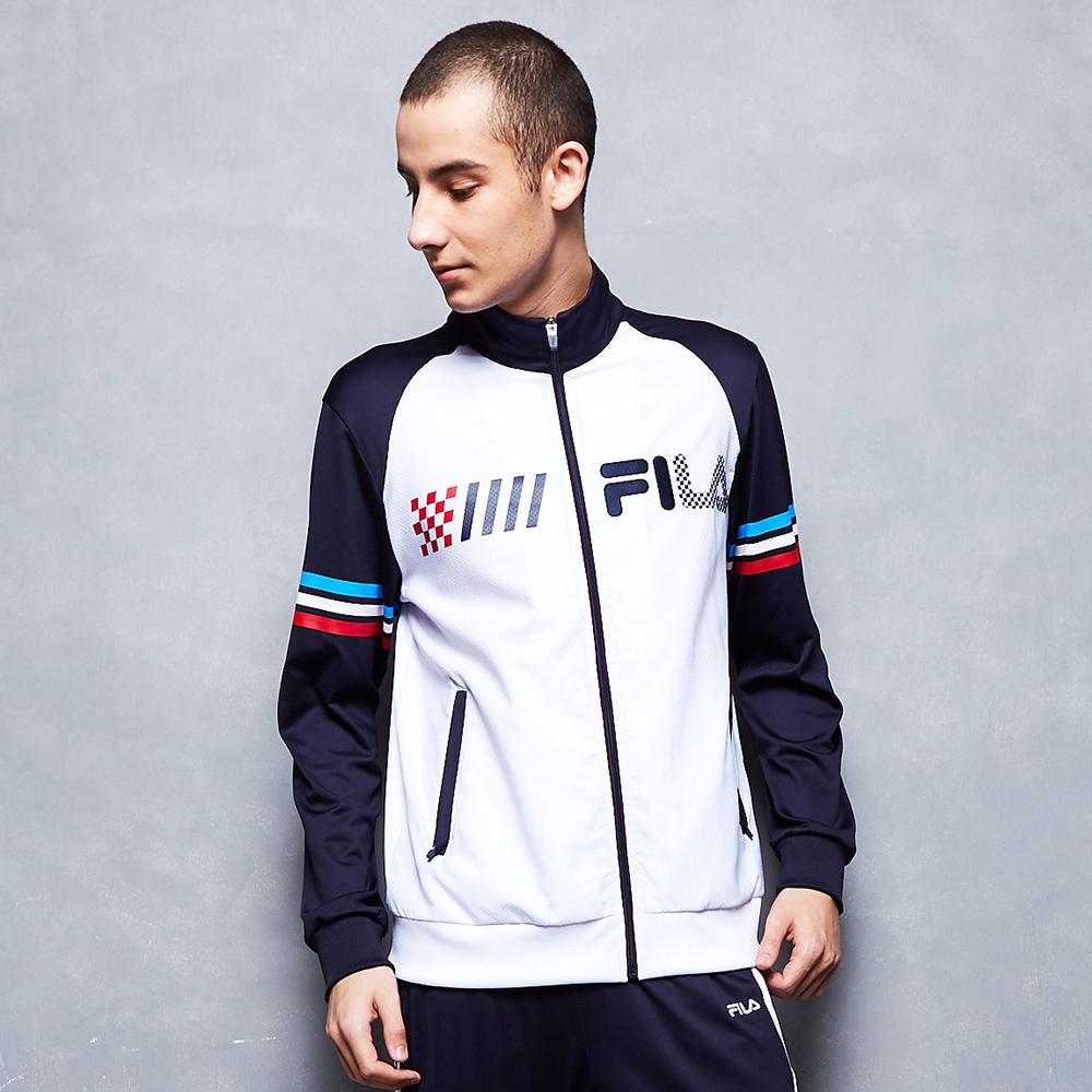 FILA 男款吸濕排汗外套-白色 1JKT-1478-WT