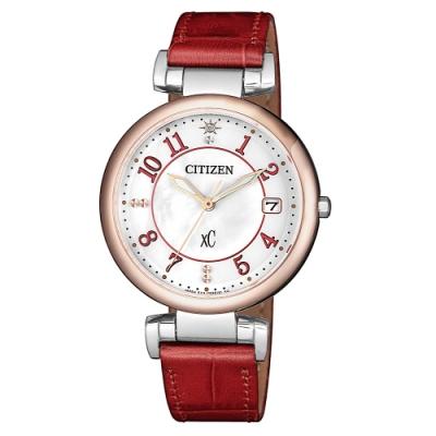 CITIZEN 星辰xC光動能優雅晶鑽真皮手錶EO1196-07W-珍珠貝X紅/33mm