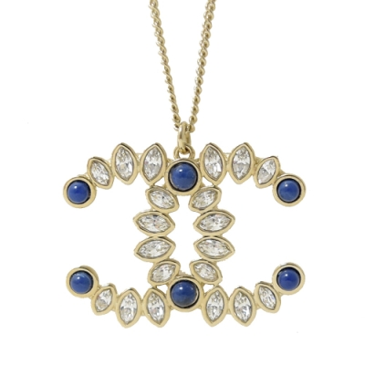 CHANEL 大雙C LOGO水鑽藍珠珠裝飾項鍊(香檳金)