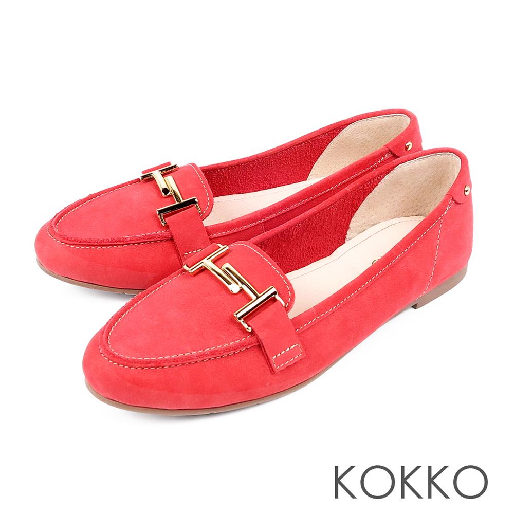 KOKKO - 簡約舒適真皮金屬釦莫卡辛休閒鞋-蜜紅梨