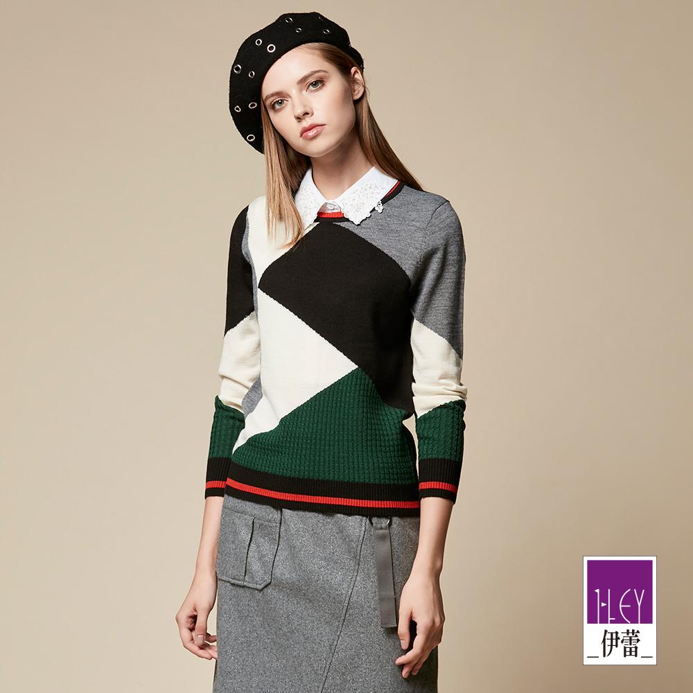 ILEY伊蕾 幾何配色羊毛混紡針織上衣(黑)