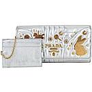 PRADA Diagramme 絎縫納帕附証件夾造型黃銅鉚釘釦式長夾(銀色)