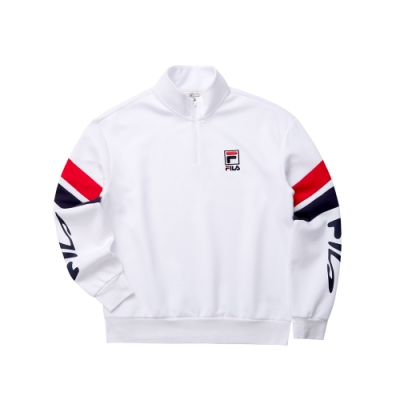 FILA 長袖半門襟T恤-白色 1TET-5440-WT