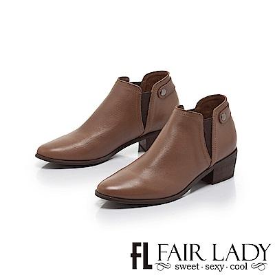 FAIR LADY 側鬆緊帶素面真皮粗跟短靴 棕