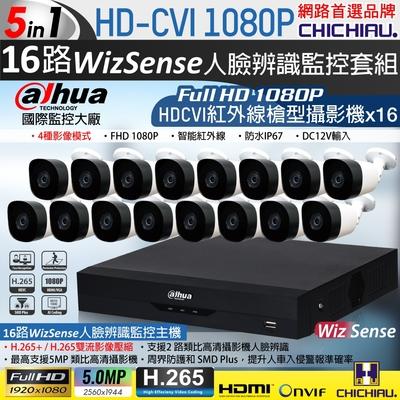 【CHICHIAU】Dahua大華 H.265 5MP 16路CVI 1080P數位遠端監控套組(含200萬紅外線槍機型攝影機x16)