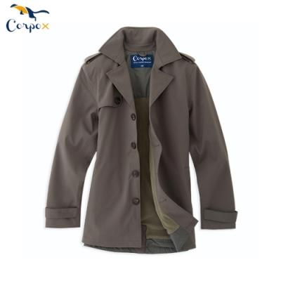 CorpoX 男款abletex高透濕防風防水保暖風衣-墨綠