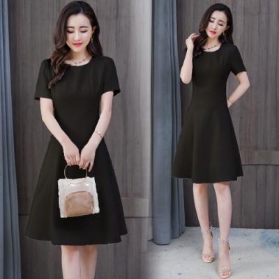 高雅清新氣質A字裙修身洋裝M-3XL(共二色)-REKO