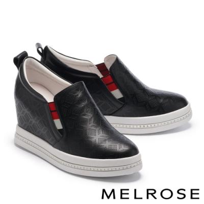 休閒鞋 MELROSE 細緻質感壓花造型全真皮內增高厚底休閒鞋-黑