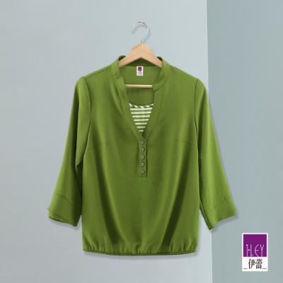 ILEY伊蕾 條紋配色假兩件雪紡上衣(綠/藍)