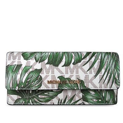 MICHAEL KORS JET SET金字Logo十字紋防刮皮革棕櫚葉薄型長夾(香草白)