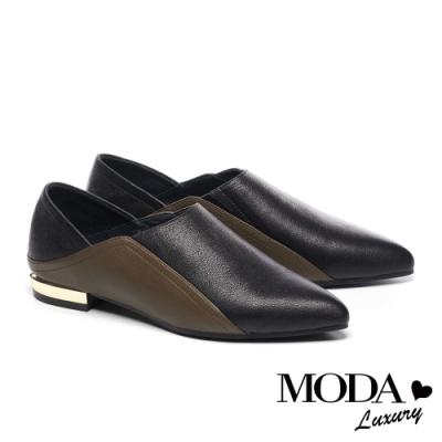 低跟鞋 MODA Luxury 簡約時尚撞色兩穿全真皮低跟鞋-黑