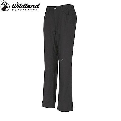 【Wildland 荒野】女防風防潑水保暖長褲鐵灰