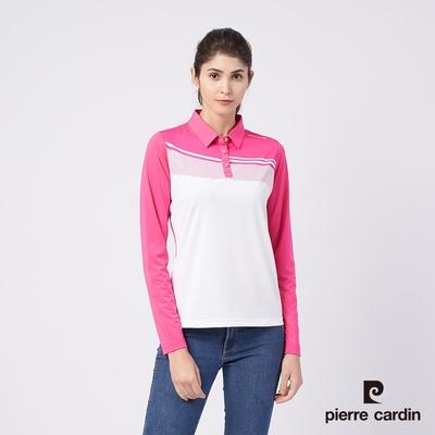 Pierre Cardin皮爾卡登 女款 彈性吸濕排汗胸前定位斜紋薄長袖POLO衫-桃紅色(4195202-76)