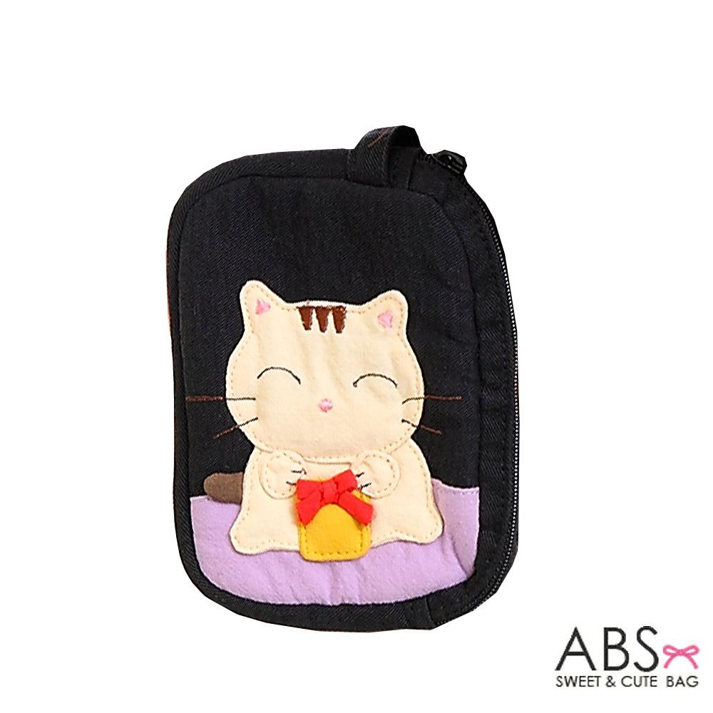 ABS貝斯貓 蝴蝶結貓咪 雙層零錢包 證件包(百搭黑)88-111