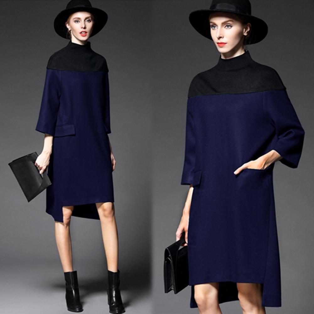 【KEITH-WILL】歐美立領隨性氣質百搭毛料素面洋裝