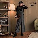東京著衣 天鵝絨質感細肩帶連身寬褲(共二色)