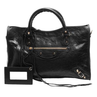 BALENCIAGA 經典CLASSIC CITY系列亮金釦羊皮手提/斜背機車包(黑色)