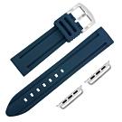 Apple Watch 蘋果手錶替用錶帶 加厚 運動矽膠錶帶-深藍色
