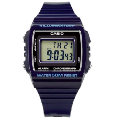 CASIO 卡西歐 計時碼錶 電子數位 橡膠手錶 深藍紫色 W-215H-2A 38mm
