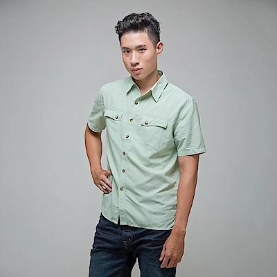 GFun 微皺棉感男款襯衫 - 粉綠(D5URSM2-GREEN)